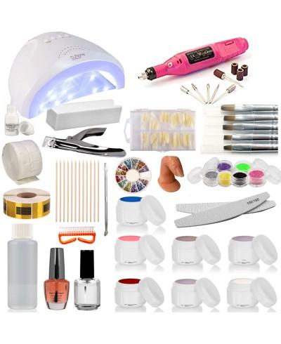Kit Ricostruzione Unghie Completo 6 Gel UV Fresa Lampada 48watt