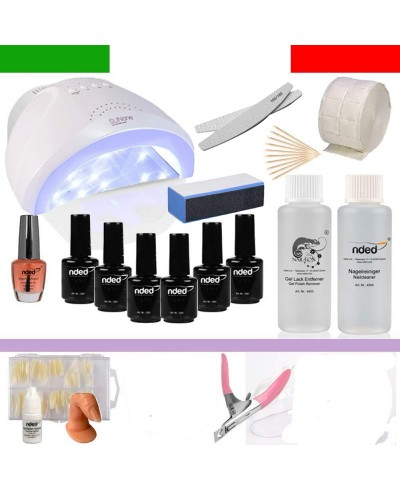 Kit Semipermanente Soak Off Unghie Completo 5 Smalti Lampada UV 36 Watt