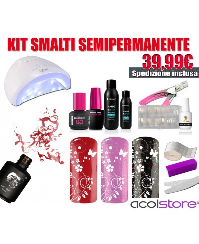 Kit Semipermanente Unghie Completo con Lampada LED 48 Watt e accessori