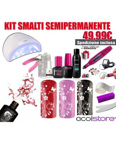 Kit Semipermanente Unghie Completo con Lampada LED 48 Watt, Fresa e accessori
