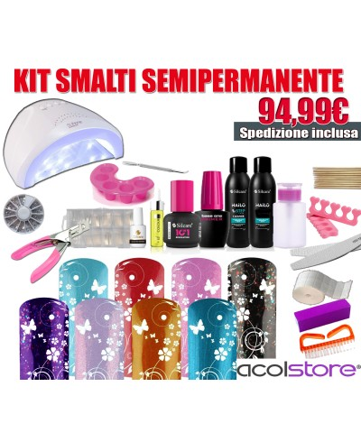 Kit Semipermanente Soak Off Unghie Completo Professionale 10 Smalti Lampada LED 48 Watt
